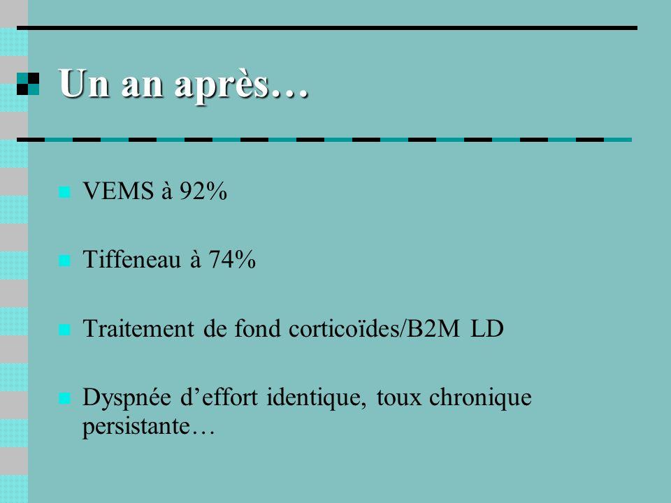 3 ans après… Normalisation EFR Symptômes persistants (dyspnée toux) et maintien du traitement de fond… Consolidation AT : taux dIPP 5%… Toujours même poste de travail