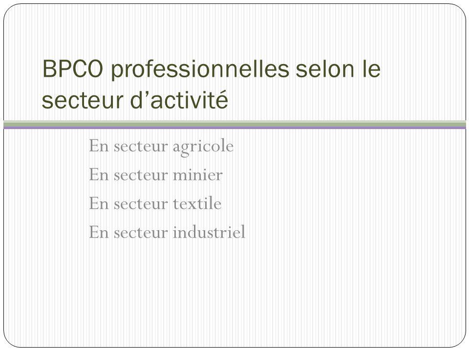 BPCO agricoles Secteurs à risque : milieu céréalier (ouvriers des silos) élevage de porcs et dans une moindre mesure volailles milieu de production laitière autres.