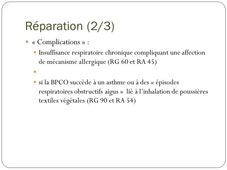 Réparation (3/3) BPCO non inscrite à un tableau Médecin Conseil Si Maladie stabilisée et IPP prévisible 25 % CRRMP Lien direct et essentiel avec le travail habituel