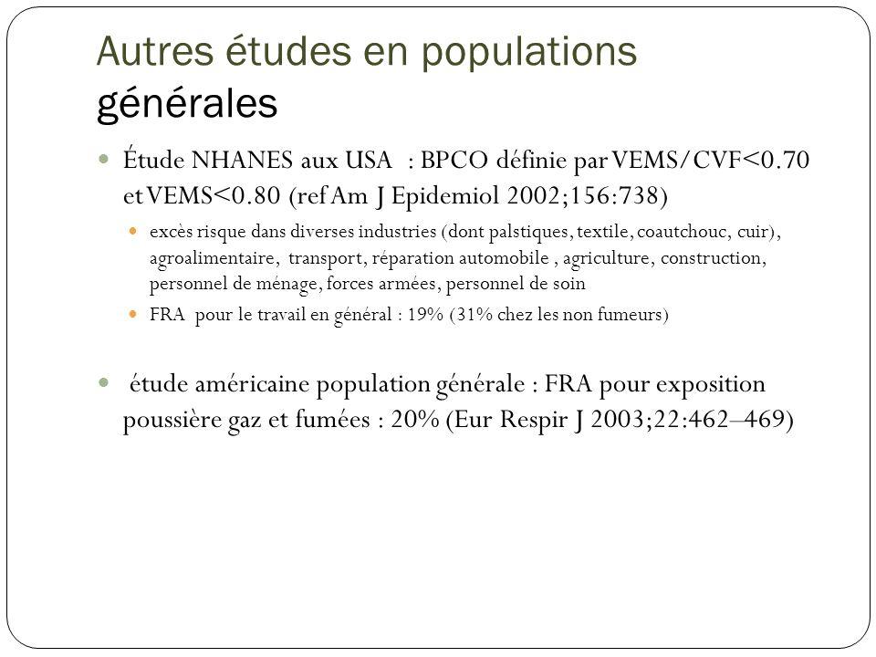Revue de la littérature :Occupation in chronic obstructive pulmonary disease and chronic bronchitis: an update P.
