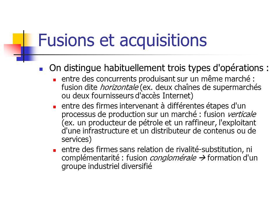 Fusions et acquisitions Justification des F&A La recherche de lefficacité économique Les F&A qui augmentent lefficience sont socialement bénéfiques.