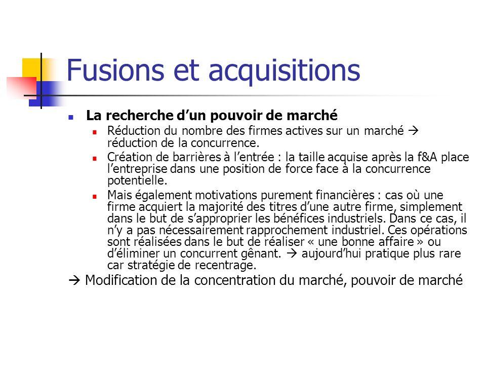 Fusions et acquisitions Critiques envers les fusions-acquisitions Les fusions ont pour but de créer de la valeur supplémentaire à laddition simple de deux sociétés (1+1=3) il arrive que le résultat dun regroupement nobtienne pas le résultat escompté, cest-à-dire où 1+1 est même inférieur à 2.