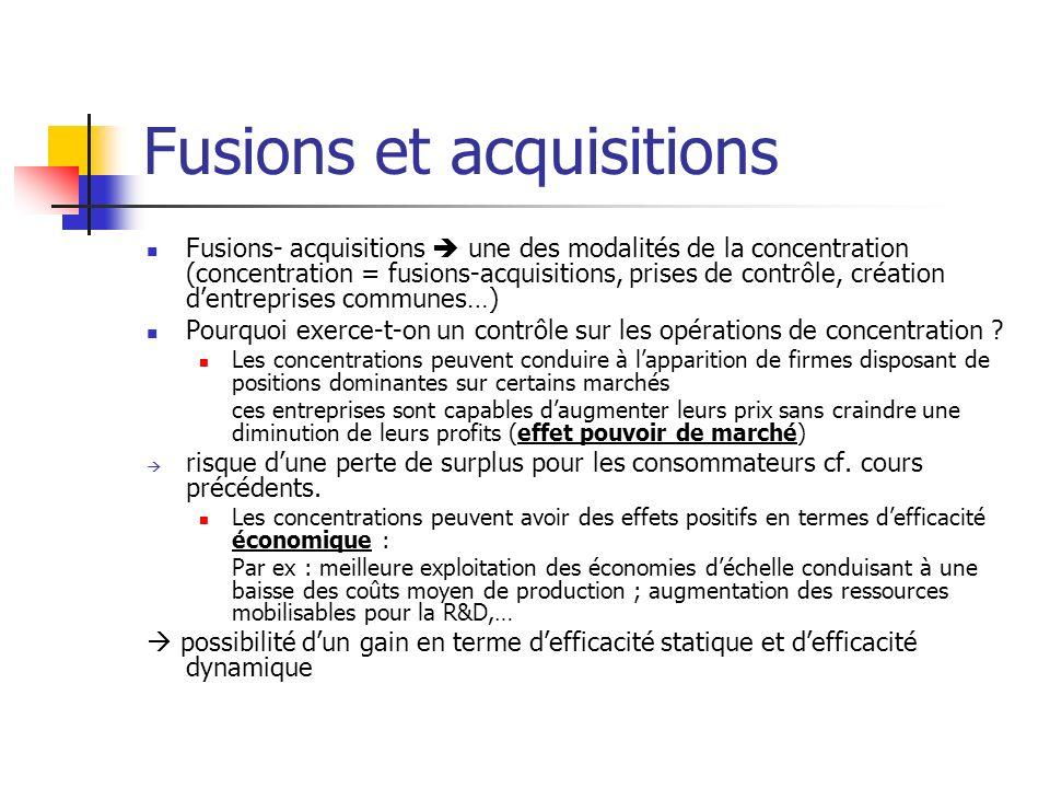 Fusions et acquisitions Arbitrage entre effet de pouvoir de marché et effet defficacité Williamson (1968) : 2 firmes ayant la même fonction de coût (le même coût moyen C0 constant) se font concurrence en prix.