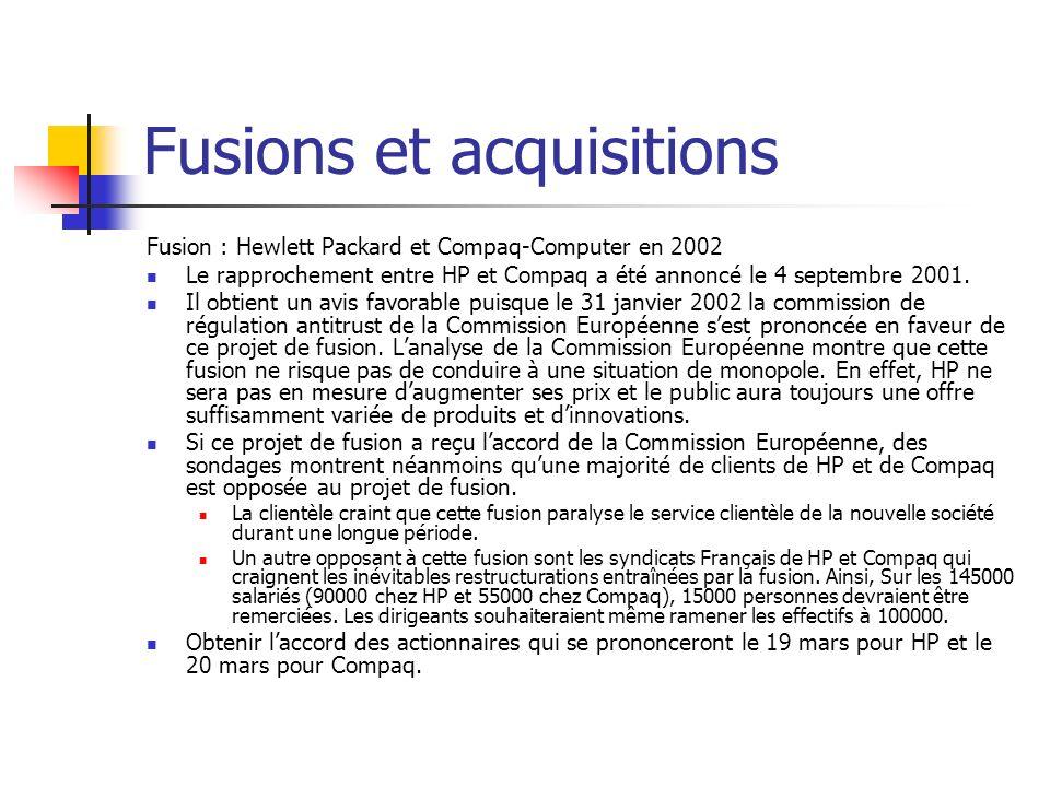 Fusions et acquisitions Fusion Total Fina / Elf Aquitaine La fusion des 2 entreprises part de marché cumulée des 2 entreprises = environ 60% sur les autoroutes françaises Autorisation sous conditions : Dans le cadre de la fusion, revente de 70 stations services à des concurrents sur les autoroutes.