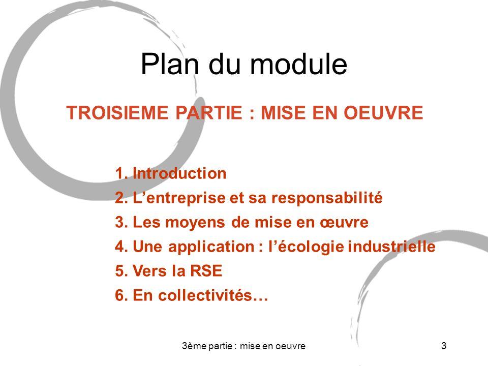 3ème partie : mise en oeuvre4 Normes Réglementation 1 Introduction 2 Responsabilité de lentreprise 3 Moyens 4.Ecologie industrielle 5 Vers la RSE 6.