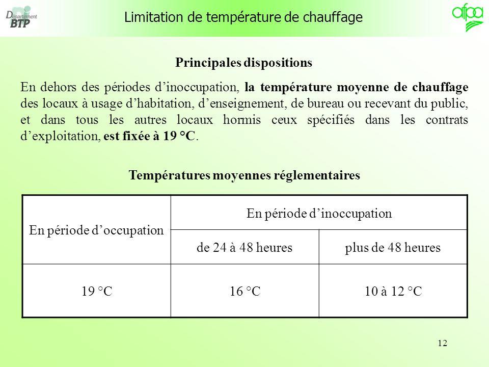 13 Limitation de température de fourniture deau chaude Principales dispositions Arrêté du 23 juin 1978 Installations fixes destinées au chauffage et à lalimentation en eau chaude sanitaire des bâtiments dhabitation, de bureaux ou recevant du public.