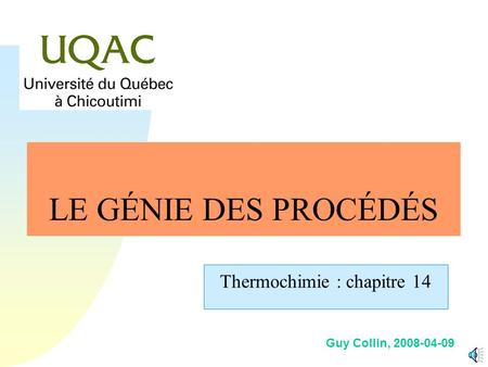 Thermochimie : chapitre 14