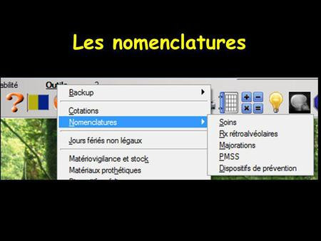 Les nomenclatures. Pénible, long à faire !... Mais gain de temps par la suite.