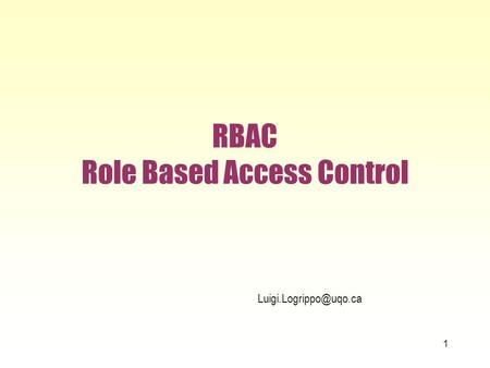 RBAC Role Based Access Control 1