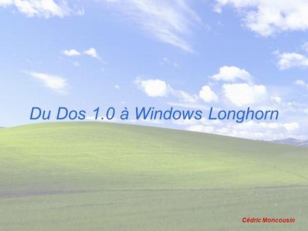 Du Dos 1.0 à Windows Longhorn