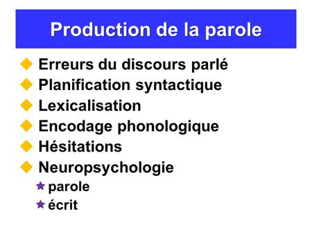 Production de la parole
