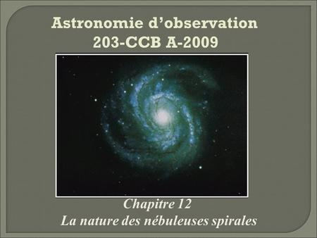 Astronomie d'observation 203-CCB A-2009