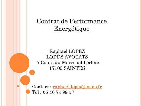 Contrat de Performance Energétique
