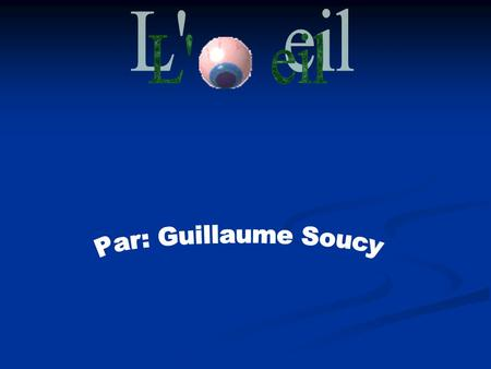 L' eil Par: Guillaume Soucy.