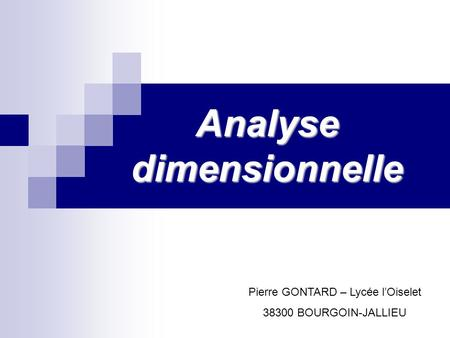 Analyse dimensionnelle