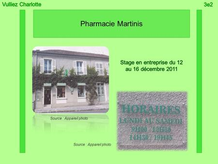 Pharmacie Martinis Source : Appareil photo. Sommaire.