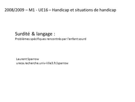 2008/2009 – M1 - UE16 – Handicap et situations de handicap