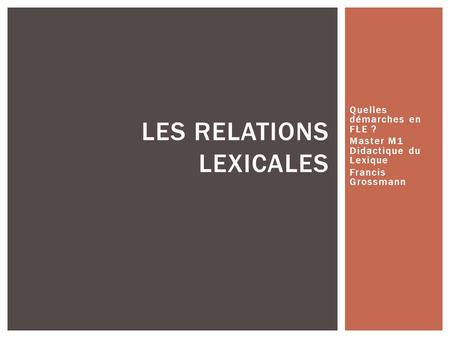 Les relations lexicales