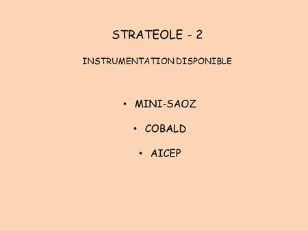 STRATEOLE - 2 INSTRUMENTATION DISPONIBLE MINI-SAOZ COBALD AICEP.