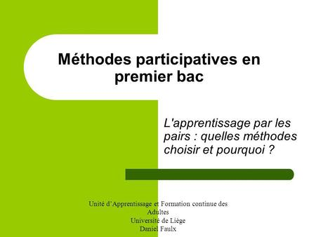 Méthodes participatives en premier bac