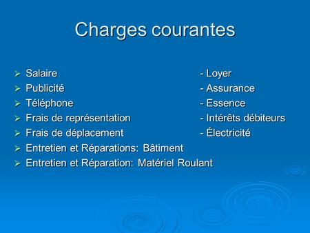Charges courantes Salaire- Loyer Salaire- Loyer Publicité- Assurance Publicité- Assurance Téléphone- Essence Téléphone- Essence Frais de représentation-