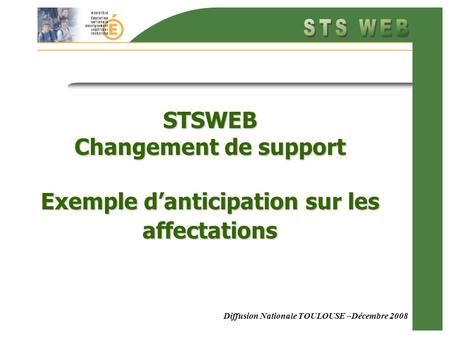 Diffusion Nationale TOULOUSE –Décembre 2008 STSWEB Changement de support Exemple danticipation sur les affectations.