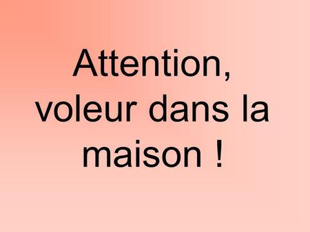 Attention, voleur dans la maison !
