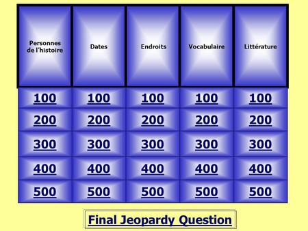 Final Jeopardy Question Personnes de lhistoire Dates 100 VocabulaireLittérature 500 400 300 200 100 200 300 400 500 Endroits.