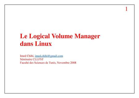 Le Logical Volume Manager dans Linux