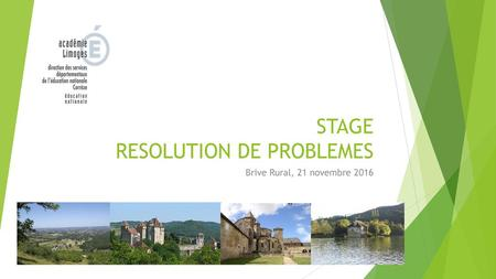 STAGE RESOLUTION DE PROBLEMES