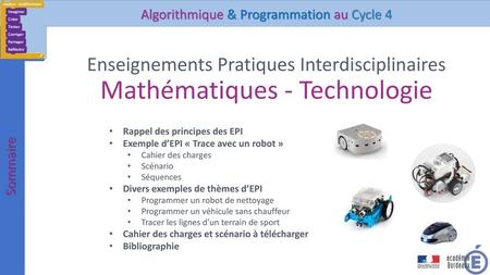 Algorithmique & Programmation au Cycle 4
