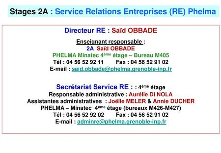 Stages 2A : Service Relations Entreprises (RE) Phelma