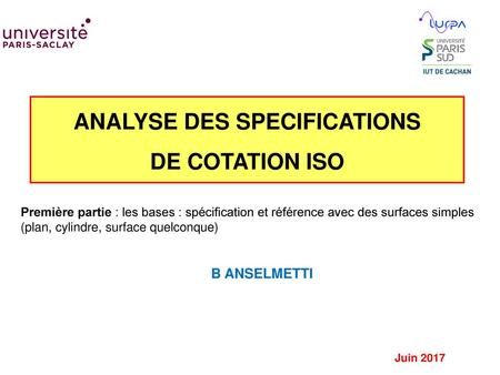 ANALYSE DES SPECIFICATIONS