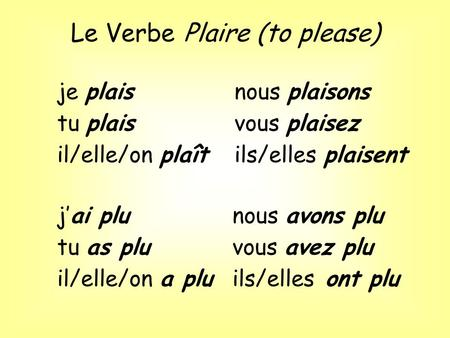 Le Verbe Plaire (to please)