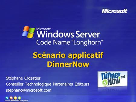 Scénario applicatif DinnerNow