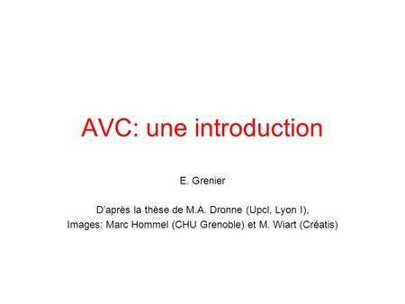 AVC: une introduction E. Grenier