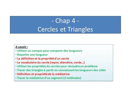 - Chap 4 - Cercles et Triangles
