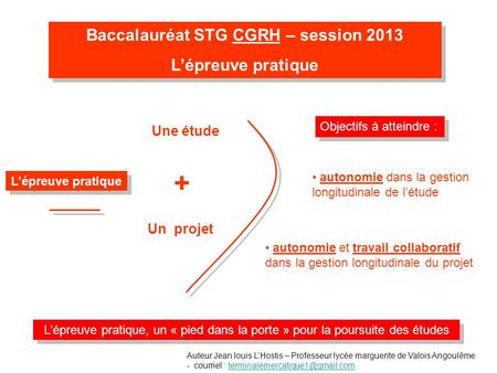 Baccalauréat STG CGRH – session 2013