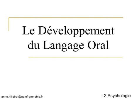 Stratgies de dveloppement du langage oral en