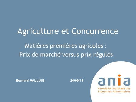 Agriculture et Concurrence