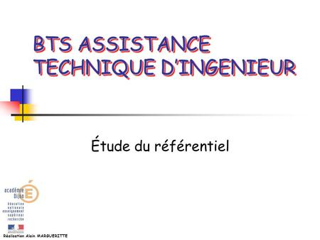 BTS ASSISTANCE TECHNIQUE D'INGENIEUR