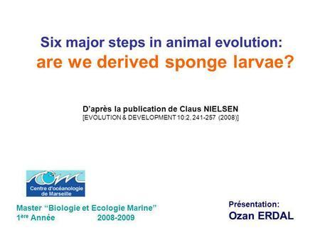 Six major steps in animal evolution: are we derived sponge larvae?