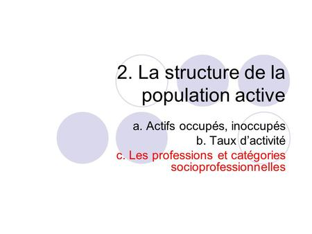2. La structure de la population active
