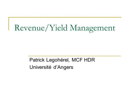 Revenue/Yield Management