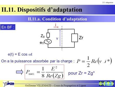 Guillaume VILLEMAUD - Cours de Propagation et Lignes 232- Adaptation II.11. Dispositifs d'adaptation II.11.a. Condition d'adaptation e(t) = E cos  t On.