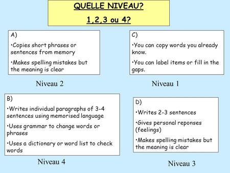 QUELLE NIVEAU? 1,2,3 ou 4? C) •You can copy words you already know. •You can label items or fill in the gaps. A) •Copies short phrases or sentences from.