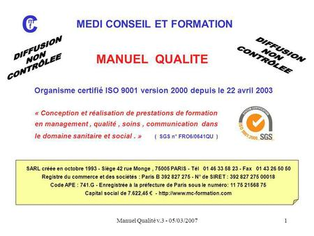 ms manager de la qualité