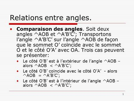 Relations entre angles.
