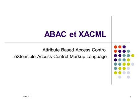 ABAC et XACML Attribute Based Access Control eXtensible Access Control Markup Language INF6153 1.