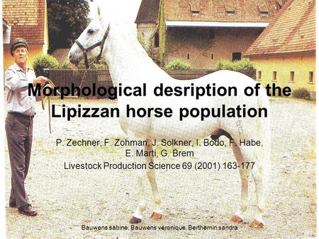 Morphological desription of the Lipizzan horse population P. Zechner, F. Zohman, J. Solkner, I. Bodo, F. Habe, E. Marti, G. Brem Livestock Production Science.